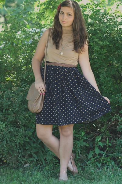navy Forever21 dress - tan thrifted top