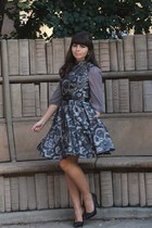 charcoal gray eShakti dress - silver modcloth dress