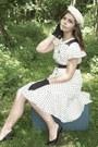 White-thrifted-dress-white-thrifted-hat-black-thrifted-gloves-black-thrift