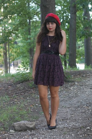 maroon Forever21 dress - red Target hat - black TJ Maxx pumps