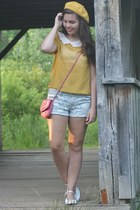 yellow LuLus blouse - bubble gum thrifted purse - sky blue Aeropostale shorts