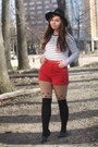 black OASAP hat - black OASAP tights - red thrifted shorts - white Forever21 top