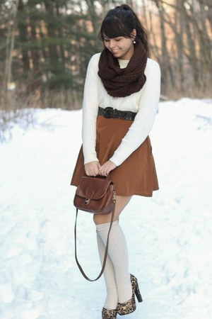 bronze Forever21 skirt - off white thrifted sweater - dark brown Forever21 scarf