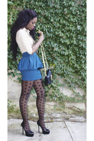 blue Zara skirt - beige H&M shirt - black asos tights