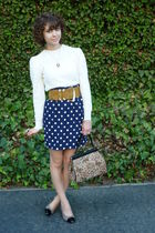 vintage sweater - vintage skirt - vintage belt - vintage purse - vintage shoes -