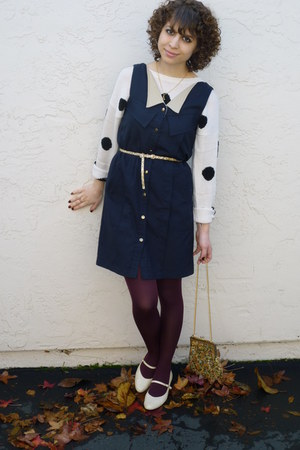 polka dot H&amp;M sweater - navy jumper vintage dress - tapestry vintage purse
