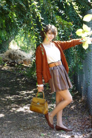 vintage cardigan - vintage skirt - vintage belt - vintage top - vintage shoes