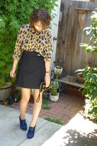 vintage top - black American Apparel skirt - armani - Blude Suede shoes