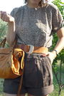 Brown-thrifted-top-cargo-shorts-brown-vintage-belt-black-shoes-old-balen