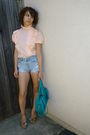 Vintage-top-vintage-shorts-steve-madden-shoes-turquoise-purse-h-m-earrin