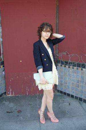beige vintage dress - vintage blazer - asos - vintage