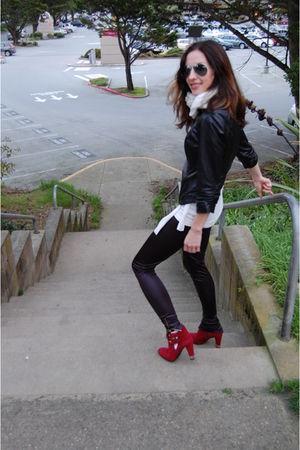 black Bebe jacket - red Stewart Weitzmen boots - black 72 changes leggings