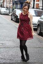 maroon lace dress - black boots