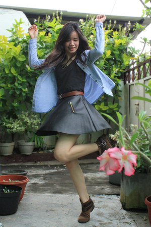 black skirt - dark brown Zara boots - sky blue vintage shirt
