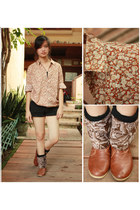 brown boots - light brown vintage shirt - black cotton on shorts - black socks