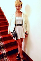white white dress dress - white leather jacket jacket - black snakeskin purse