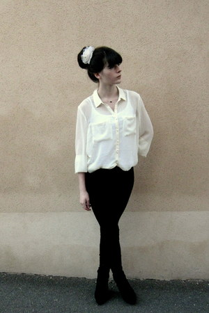 white H&amp;M blouse - black Mango leggings