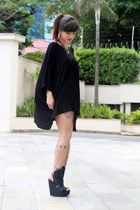 black Líbera blouse - black Melissa sandals - charcoal gray lilac necklace