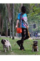 black leggings - blue shirt - carrot orange zimpy bag - black Ágatha sneakers