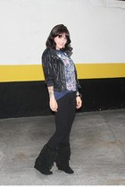 black fringed leather c&a boots - black Zara jacket - navy Threadless shirt