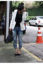 white Zara blazer - blue Zara jeans - black Victor Hugo bag