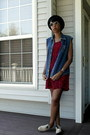 Sugarlips-dress-h-m-hat-thirteen-vintage-sunglasses-thrifted-vintage-vest