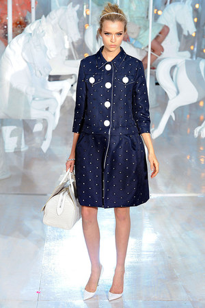 navy Louis Vuitton dress - white sandals