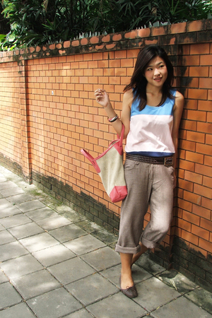 H&amp;M top - stolen from sis belt - Outlet garment pants - Clark shoes - jj market 