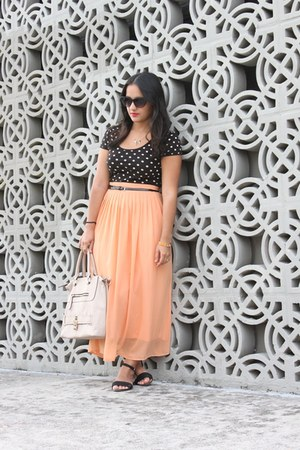 light orange maxi Forever 21 skirt - heather gray JustFab bag