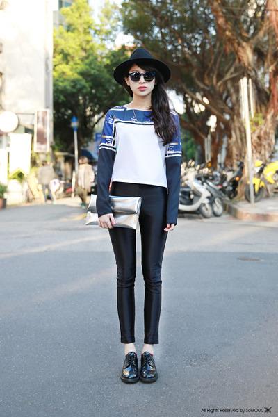 design WINDOW BAG bag - Topshop hat - Fabitoria top - soulout shoes loafers