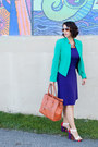 Deep-purple-ross-dress-aquamarine-calvin-klein-jacket-carrot-orange-bag