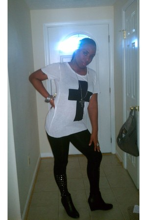 Forever21 shirt - J C Pennys leggings - black crosses Hot Topic earrings