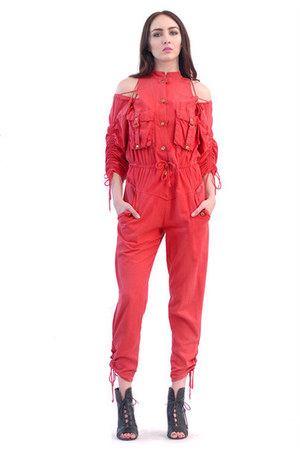 red tie jumpsuit jumper
