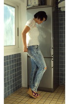 sky blue used effect H&M jeans - white lace no brand shirt - white tank top no b