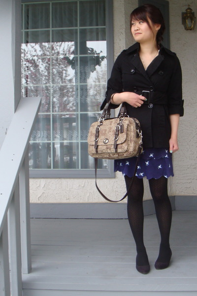 black le chateau shoes - black Urban Behaviour jacket - blue asos dress - brown