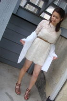 brown Classified shoes - beige Forever 21 dress - brown Forever 21 belt - white