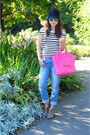 Blue-boyfriend-zara-jeans-hot-pink-celine-bag-black-striped-zara-top