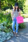 Blue-boyfriend-zara-jeans-hot-pink-celine-bag-black-striped-zara-top