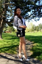 striped blazer H&M blazer - navy Zara shorts - white patent pumps Aldo pumps