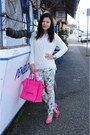 White-zara-sweater-hot-pink-celine-bag-hot-pink-h-m-pumps-zara-pants