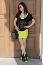 Lime-green-h-m-wedges-lime-green-mini-skirt-ever-new-skirt-black-t-shirt