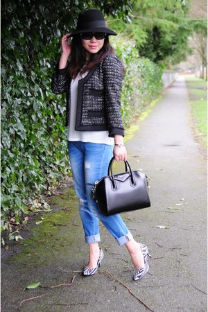 black tweed JCrew coat - blue boyfriend Zara jeans - black Givenchy bag