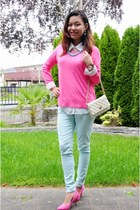 hot pink H&M sweater - light blue Forever 21 jeans - hot pink H&M pumps
