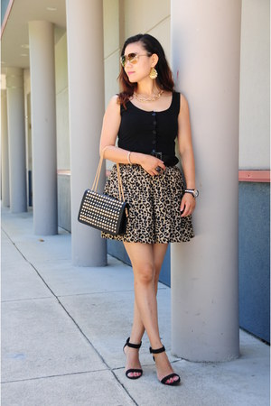 black unknown romper - brown leopard print H&M skirt - black Style&Co heels