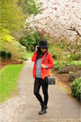 Black-aldo-boots-red-aritzia-blazer-black-chanel-bag