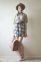 yellow thrifted blouse - blue thrifted skirt - brown thrifted purse - brown thri