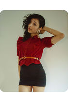 red vintage shirt - black American Apparel dress - orange vintage belt - gold vi