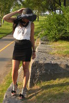 black H&M skirt - white H&M top - white Ebay shoes - black Forever 21 hat - blac
