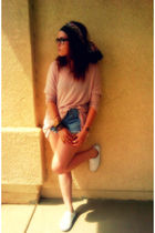 pink H&M sweater - blue Vintage Levis DIY shorts - black H&M scarf - white H&M s