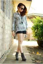 online boots - Topshop shorts - Topshop blouse